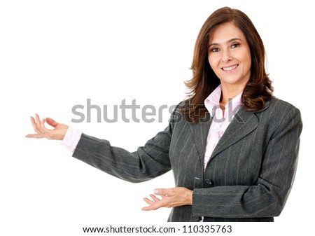 Business woman presenting something - isolated over a white background