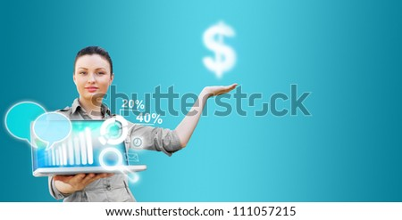 Business woman presenting technological solutions with her laptop and virtual icons