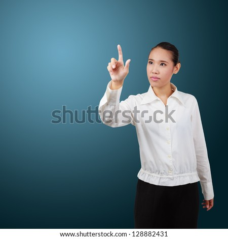 Business Woman pressing an imaginary button