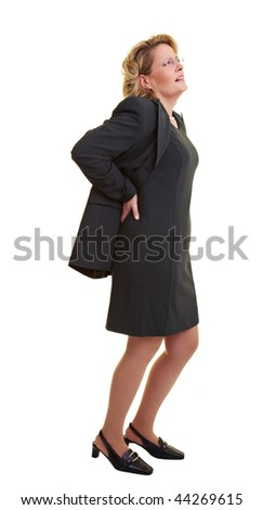 Business woman pressing her hands against her back