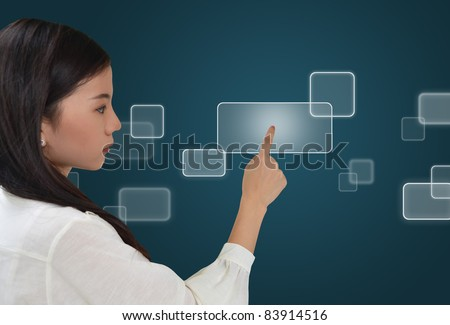 Business woman pressing on a flow of buttons