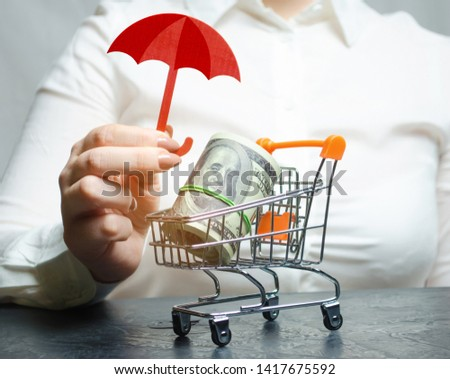 Business woman provides protection for a supermarket trolley with money. Guarantee of protection of foreign investment in the economy, favorable conditions for attracting investors, capital protection #1417675592