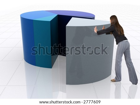business woman pushing a pie chart over a white background
