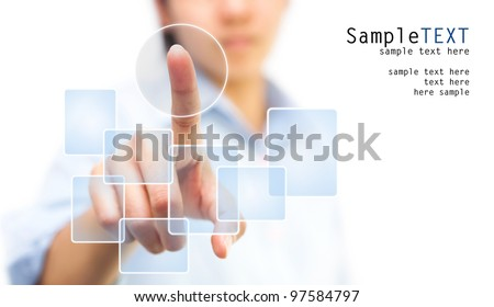 Business woman pushing on whiteboard, isolate on white background