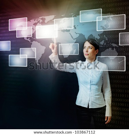 business woman pushing virtual button in web interface with her finger over black