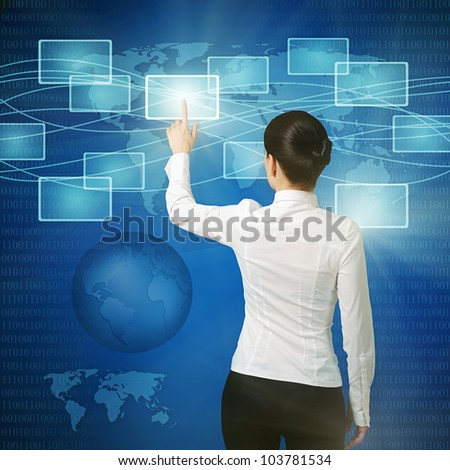 business woman pushing virtual button in web interface with her finger over blue