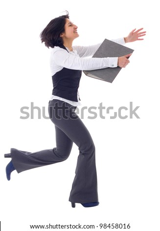 Business woman running in suit in full body isolated on white background