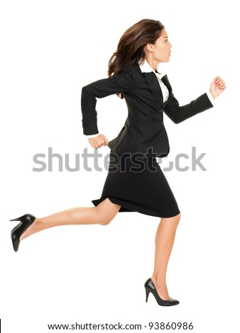Business woman running in suit in full body isolated on white background. Business concept image with young mixed race Caucasian / Chinese Asian businesswoman. - stock photo