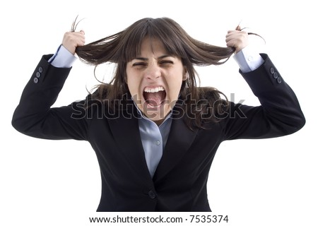 business woman screaming isolated in white background