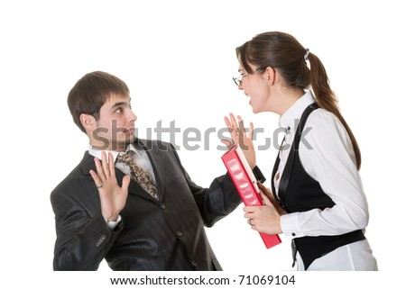 Business woman shouting at the staff isolated on white