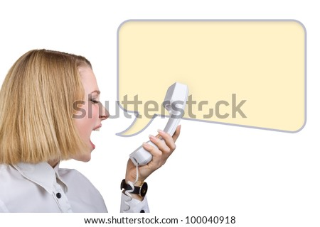 Business woman shouting into the telephone receiver, isolated on white background. Yellow speech bubble at the top of the photo for your text