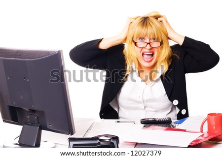 business woman shouts at office in end of working day