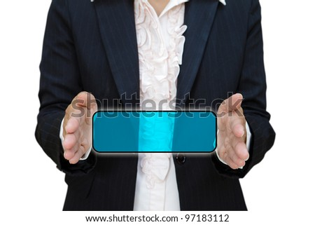 Business woman show blank space between her hand for messages