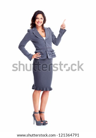Business woman showing a copyspace isolated on white background