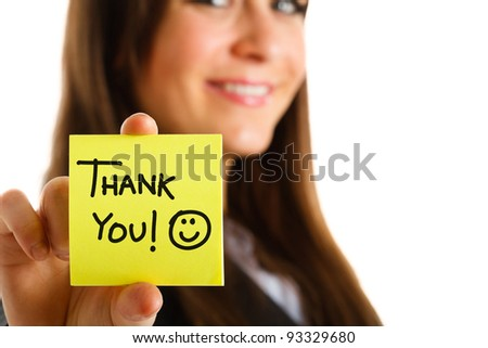 Business woman showing a post-it to thank you - stock photo