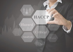 Business woman showing presentation of meaning of HACCP concept (Hazard Analysis of Critical Control Points) a principle on black background. Idea for used in manufacturing and training.