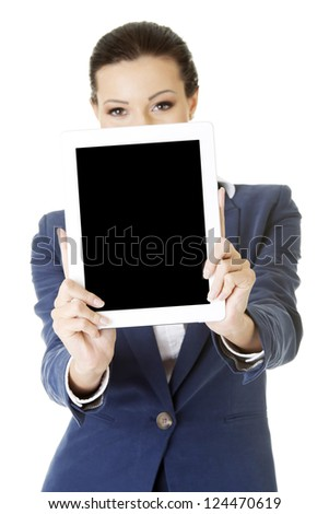 Business woman showing tablet PC with touch pad. Isolated on white - stock photo