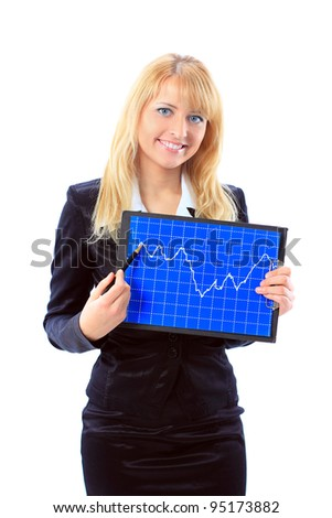 Business woman showing the upward trend of a graphic chart.