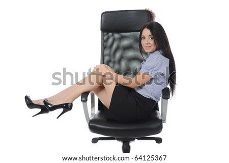Business woman sitting on a chair in a bright room. . Isolated on white background