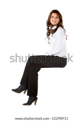 Business woman sitting on an imaginary object isolated over a white background