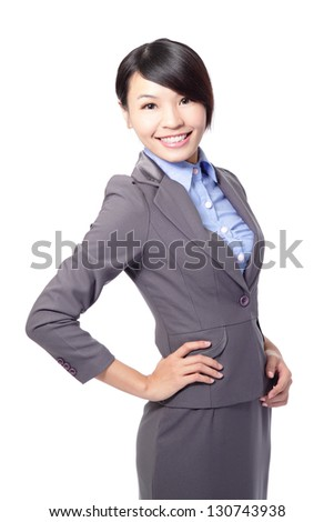 business woman smiling isolated on white background, asian model