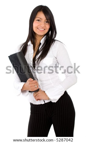 business woman smiling with a folder over a white background