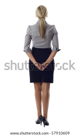 Business woman standing backwards isolated over white