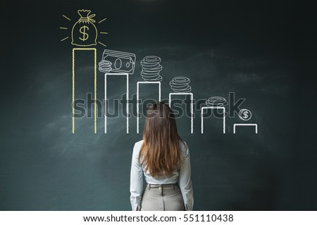 Business woman standing in front of a blackboard with a financial chart ストックフォト ©