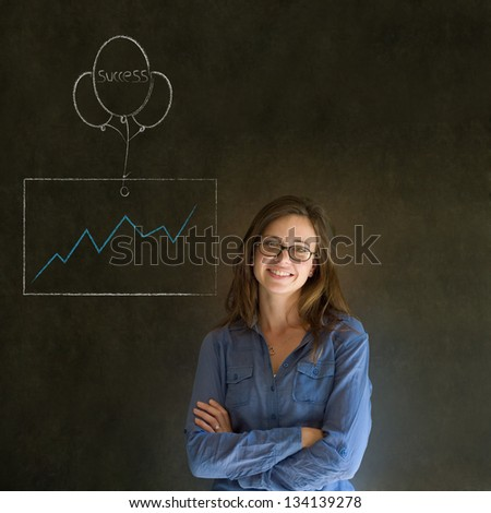 Business woman, student or teacher with chalk success graph and balloon on blackboard background