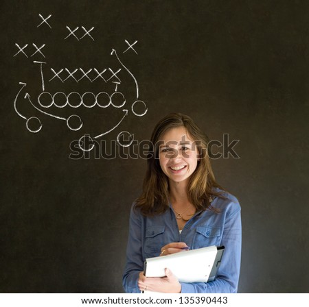 Business woman, student, teacher or coach American football strategy on blackboard background