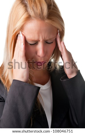 Business woman suffering from an headache, holding her hands to the head