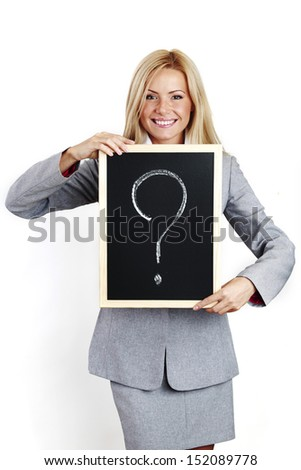 business woman take question sign in hands