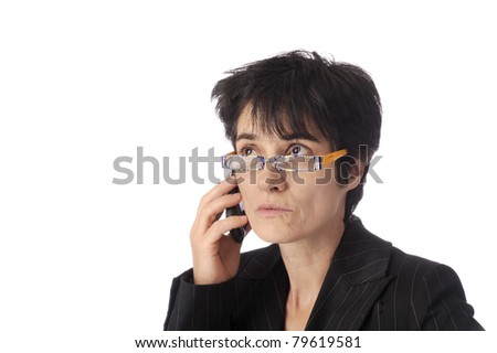 business woman talking on her mobile phone.Eyes up.  Isolated on white background