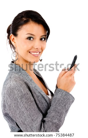 Business woman texting on her cell phone isolated