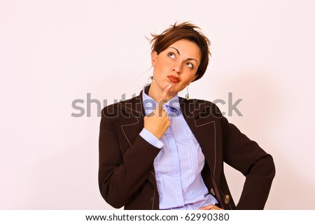 Business woman thinking facial expression