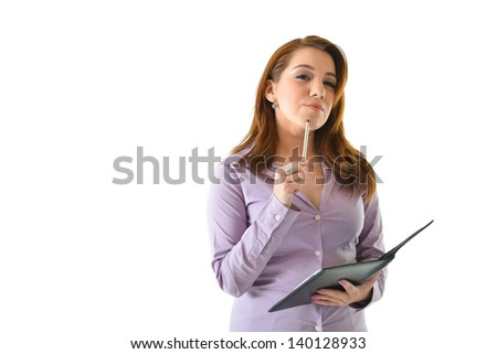 Business woman thinking of ideas with pen on chin and squinting eyes