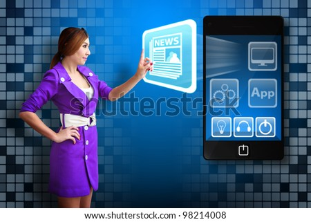 Business woman touch News icon
