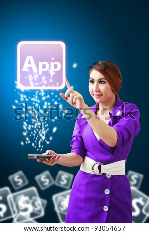 Business woman touch The Application icon from mobile phone