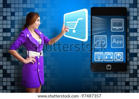 Business woman Touch the Cart icon from mobile phone