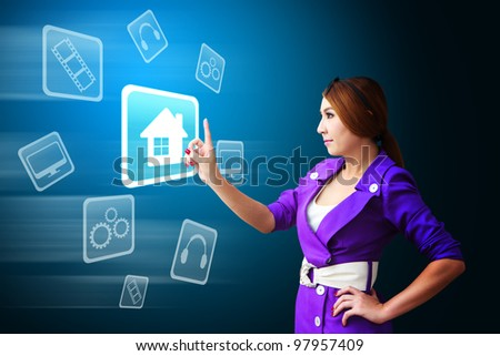 Business woman touch the House icon