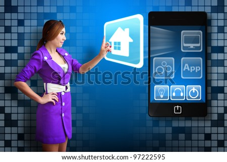 Business woman touch the House icon from mobile phone