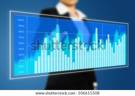 business woman touch virtual chart