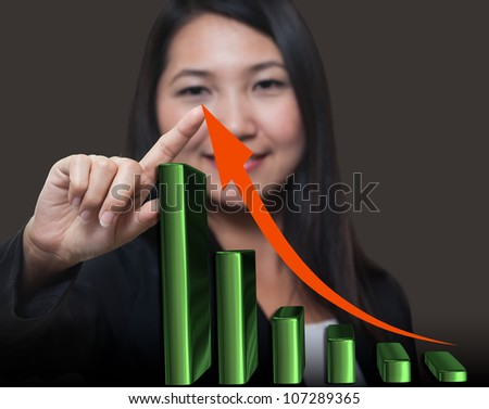 Business woman touching growth arrow , Business success concept