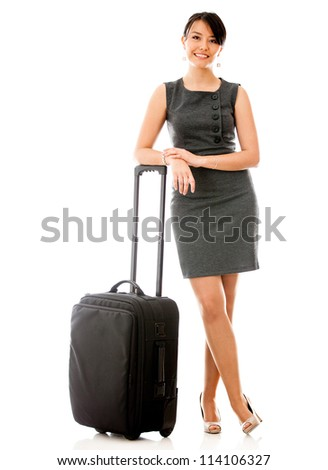 Business woman travelling with her bag - isolated over white