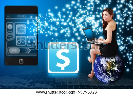 Business woman use notebook computer and Money icon from mobile phone : Elements of this image furnished by NASA