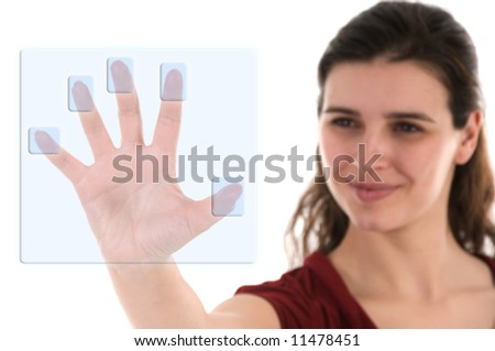 business woman using a biometric decoder on white