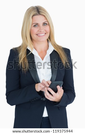Business woman using her smartphone in the white background