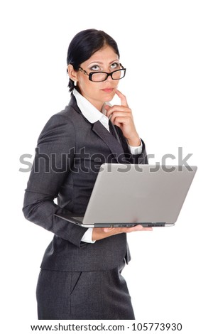 business woman using laptop. isolated on white background