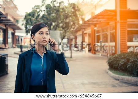 business woman using mobile phone, business network connection concept #654645667