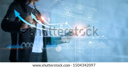 Business woman using tablet analyzing sales data and drawing growth graph with icon customer network connection on virtual interface, Business strategy, Digital marketing.